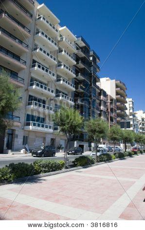 Condominiums Along Sliema Malta Waterfront