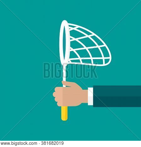 Businessman Hand Holds Butterfly Net. Catch, Hunt, Chase Symbol.