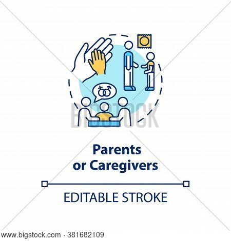 Parents Or Caregivers Concept Icon. Traditional Sexual Education Idea Thin Line Illustration. Learni