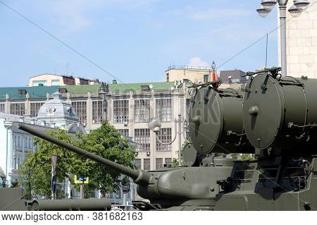 Moscow, Russia - June 20, 2020:military Equipment On Tverskaya Street In Moscow During The Dress Reh
