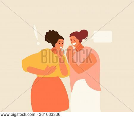 Two Female Friends Gossip. Bullying And Rumors Vector Illustration