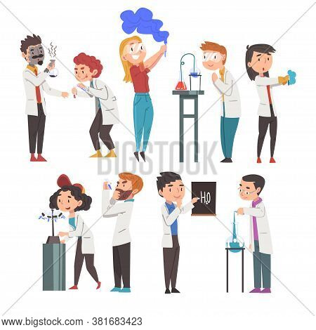 Chemists Doing Experiments Set, Scientist Or Student Characters In Lab Coat Working At Medical Or Re