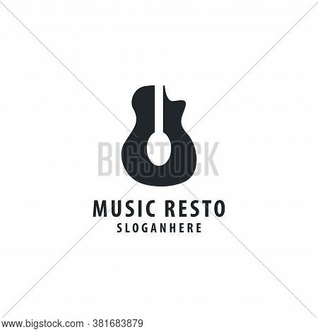 Guitar With Spoon Vector Logo For Cafe And Restaurant