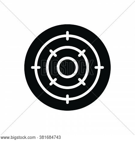 Black Solid Icon For Objective Purpose Achievement Analysis  Bullseye Challenge Circle Competition