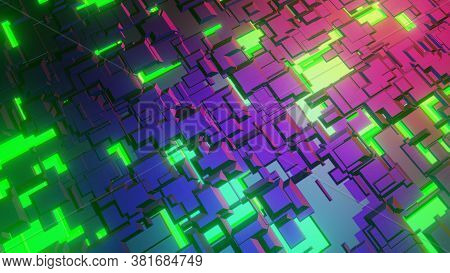Modern Tech Pattern. Sci-fi  Technological Surface, Macro Background, 3d Rendering. Pc Style, Roboti