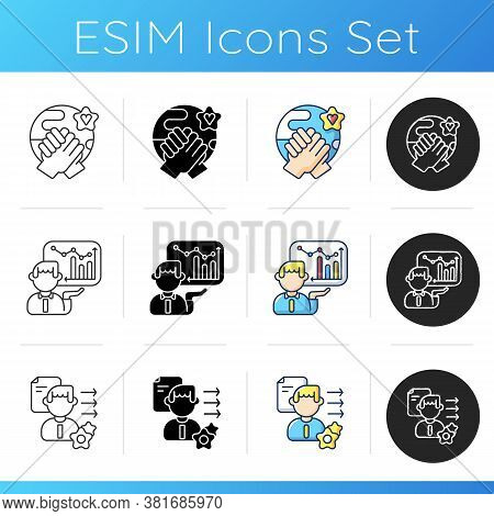 Soft Skills Icons Set. Linear, Black And Rgb Color Styles. Tolerance, Business Presentation, Brevity