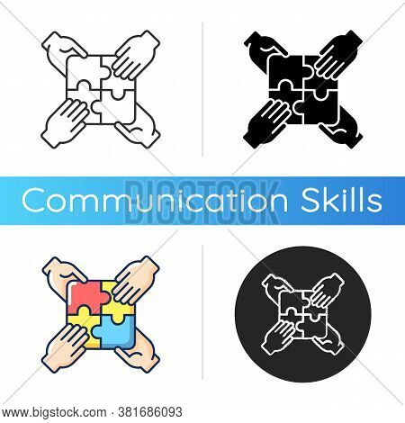 Teamwork Building Icon. Linear Black And Rgb Color Styles. Teamwork Skills Development, Togetherness