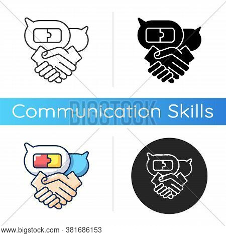 Negotiation Skills Icon. Linear Black And Rgb Color Styles. Business Partnership, Professional Relat