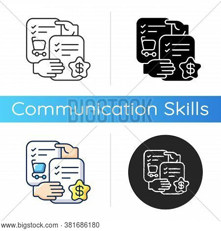 Selling Skills Icon. Linear Black And Rgb Color Styles. Trading Business, Commercial Relationship. C