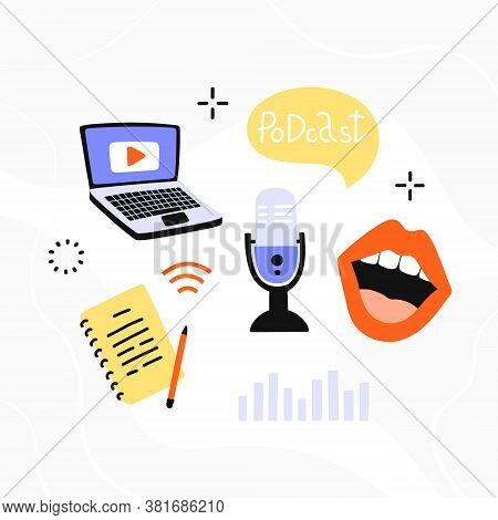Podcasting Template. Equipment Set For Blogging, Webinar, Podcasting And Broadcasting, Online Radio.
