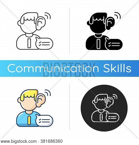 Listening Skills Icon. Linear Black And Rgb Color Styles. Communication Abilities, Consultation Serv