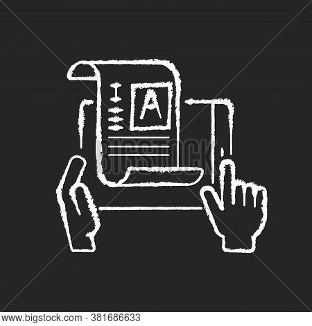 Self Publishing Chalk White Icon On Black Background. Digital Article. Copywriter Document. Professi