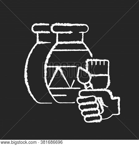 Handicraft Chalk White Icon On Black Background. Paint Created Pottery. Handmade Vase To Paint For A
