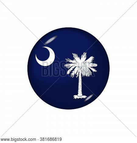 Icon Flag Of South Carolina . Round Glossy Flag. Vector Illustration. Eps 10