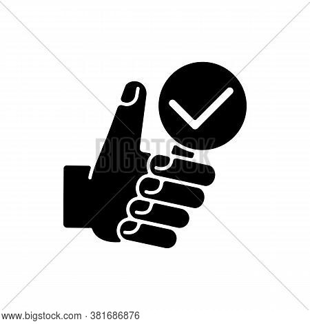 Complete Research Black Glyph Icon. Thumbs Up With Magnifying Glass. Vote For Right Answer. Checkmar