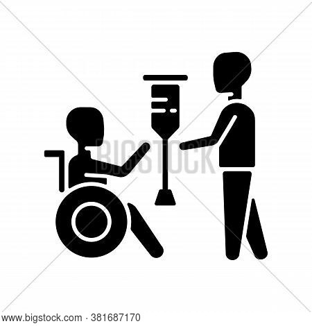 Rehabilitation Services Black Glyph Icon. Physical Therapy. Medical Care. Rehabilitation For People
