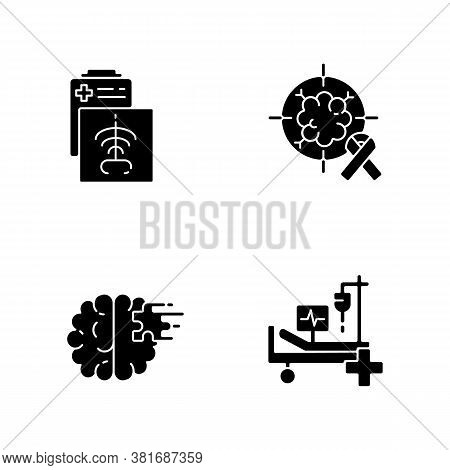 Health Care Services Black Glyph Icons Set On White Space. Ct Scan. Intensive Care Unit. Cancer Trea