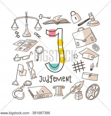 Letter J - Judgement, Cute Alphabet Series In Doodle Style, Vector Illustration