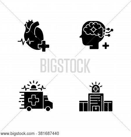 Urgent Health Care Black Glyph Icons Set On White Space. Cardiology Consultant. Ambulance. Neurologi