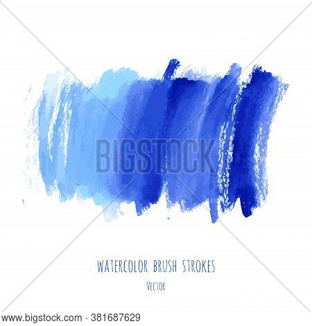 Vector Turquoise Blue, Indigo Watercolor Texture Background With Dry Brush Stains, Strokes, Spots Is