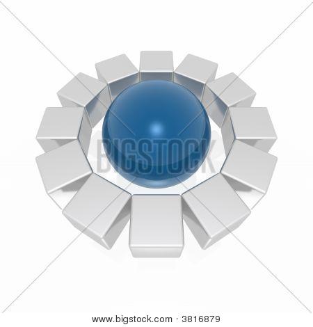 Cubes Around Sphere