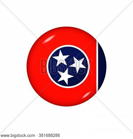 Icon Flag Of Tennessee . Round Glossy Flag. Vector Illustration. Eps 10