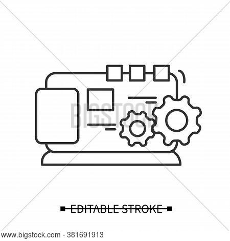 Website Optimization Icon. Concept Pictogram For Search Engine Web Page Optimization. Editable Strok