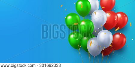 Greeting Design In National Green, White And Red Colors With Realistic Flying Helium Balloons On Blu