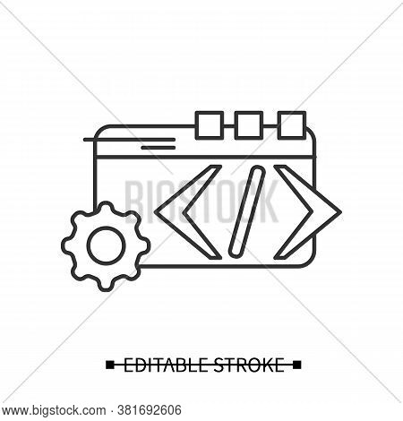 Custom Coding Icon. Web Page And Gear, Concept Pictogram Of Custom Service Web Programming. Editable