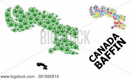 Vector Weed Mosaic And Solid Map Of Baffin Island. Map Of Baffin Island Vector Mosaic For Weed Legal