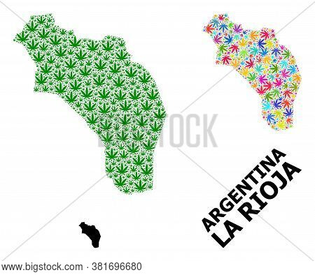 Vector Weed Mosaic And Solid Map Of Argentina - La Rioja. Map Of Argentina - La Rioja Vector Mosaic