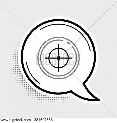 Line Target Sport For Shooting Competition Icon Isolated On Grey Background. Clean Target With Numbe