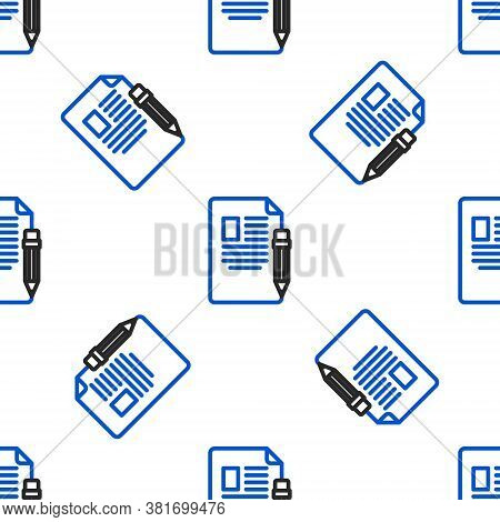 Line Exam Sheet And Pencil With Eraser Icon Isolated Seamless Pattern On White Background. Test Pape