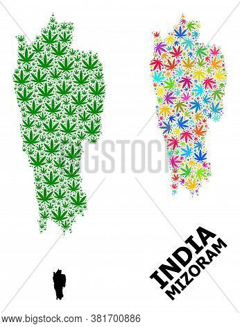 Vector Weed Mosaic And Solid Map Of Mizoram State. Map Of Mizoram State Vector Mosaic For Weed Legal