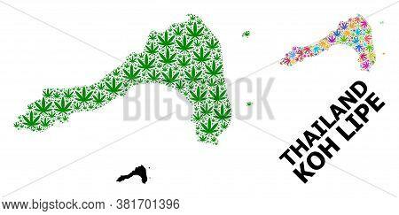 Vector Hemp Mosaic And Solid Map Of Koh Lipe. Map Of Koh Lipe Vector Mosaic For Hemp Legalize Campai