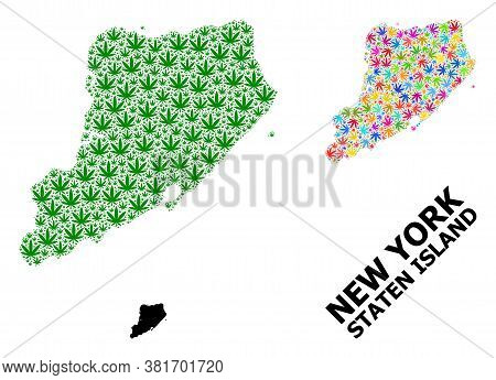 Vector Hemp Mosaic And Solid Map Of Staten Island. Map Of Staten Island Vector Mosaic For Hemp Legal