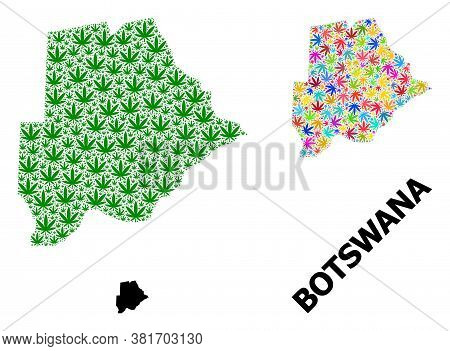 Vector Weed Mosaic And Solid Map Of Botswana. Map Of Botswana Vector Mosaic For Weed Legalize Campai