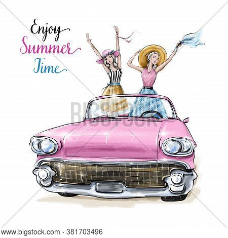 Hand Drawn Beautiful Young Women In Pink Car. Summer Set With Girls And Car. Fashion Women In Summer