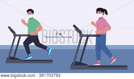 Social Distance In New Normal Concept, People Men And Women Exercising And Have A Medical Face Mask