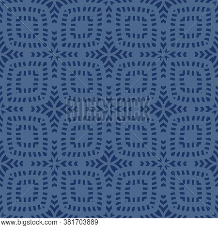 Vector Geometric Seamless Pattern. Abstract Ethnic Texture With Ornamental Grid, Mesh, Lattice. Trib