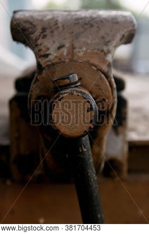 Metal Old Vise Tool Set On Rusty Layout
