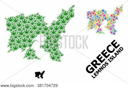 Vector Weed Mosaic And Solid Map Of Lemnos Island. Map Of Lemnos Island Vector Mosaic For Weed Legal