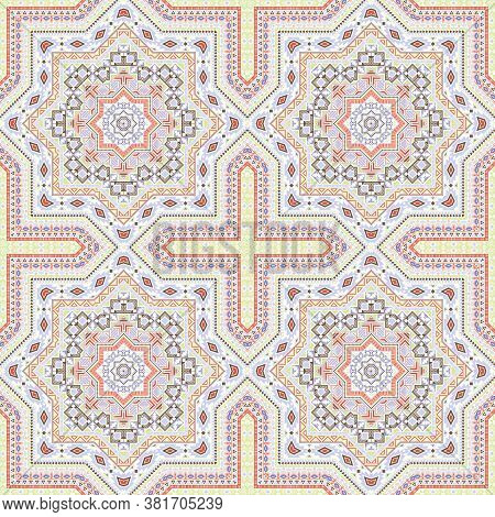 Simple Italian Maiolica Tile Seamless Pattern. Geometric Texture Vector Motif. Carpet Print Design.