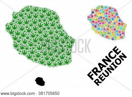 Vector Cannabis Mosaic And Solid Map Of Reunion Island. Map Of Reunion Island Vector Mosaic For Hemp