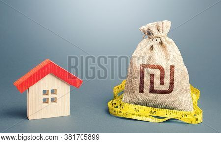 House And Israeli Shekel Money Bag. Buying And Selling, Fair Price. Building Maintenance. Calculatio