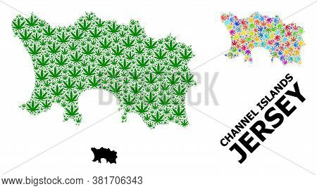 Vector Weed Mosaic And Solid Map Of Jersey Island. Map Of Jersey Island Vector Mosaic For Weed Legal