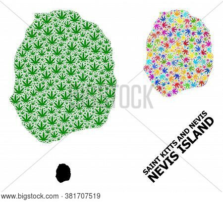 Vector Weed Mosaic And Solid Map Of Nevis Island. Map Of Nevis Island Vector Mosaic For Weed Legaliz
