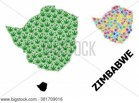 Vector Marijuana Mosaic And Solid Map Of Zimbabwe. Map Of Zimbabwe Vector Mosaic For Weed Legalize C