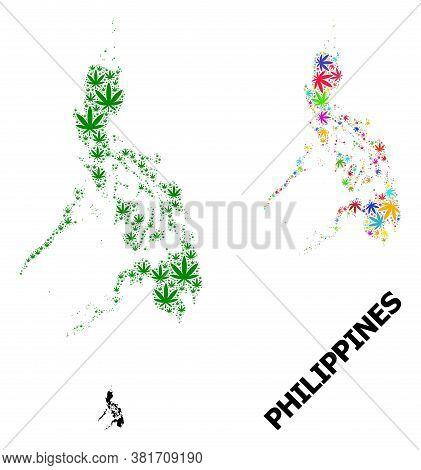Vector Marijuana Mosaic And Solid Map Of Philippines. Map Of Philippines Vector Mosaic For Marijuana