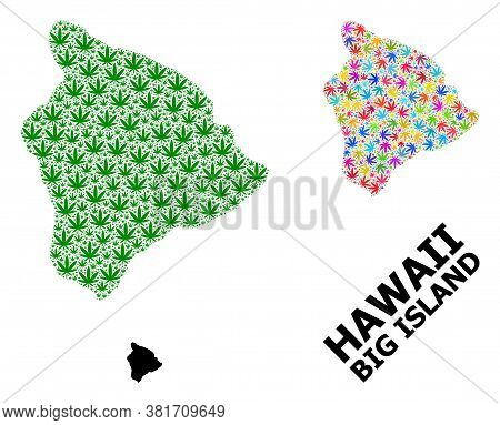 Vector Cannabis Mosaic And Solid Map Of Hawaii Big Island. Map Of Hawaii Big Island Vector Mosaic Fo